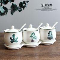 3 pcs set ceramic kitchen cruet set spice jar with lid spoon and tray kitchen supplies spice jar condiment bottles set
