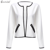 Gamiss 2016 Fashion Autumn Women White Jacket Long Sleeve Zipper Pockets Slim Short Cardigan Coat Casual