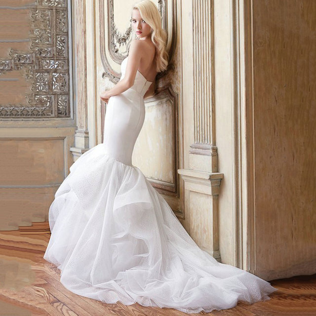 439692400 2016 Sexy Strapless Mermaid Wedding Dresses Off The Shoulder Long Bridal  Gown Custom Made Vestido De