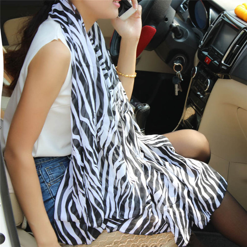 Ladies Long Zebra Printed Chiffon Scarf For Women Silk Scarf Shawl For Winter Cachecol Feminino Fashion Scarves Cloth Accesorry