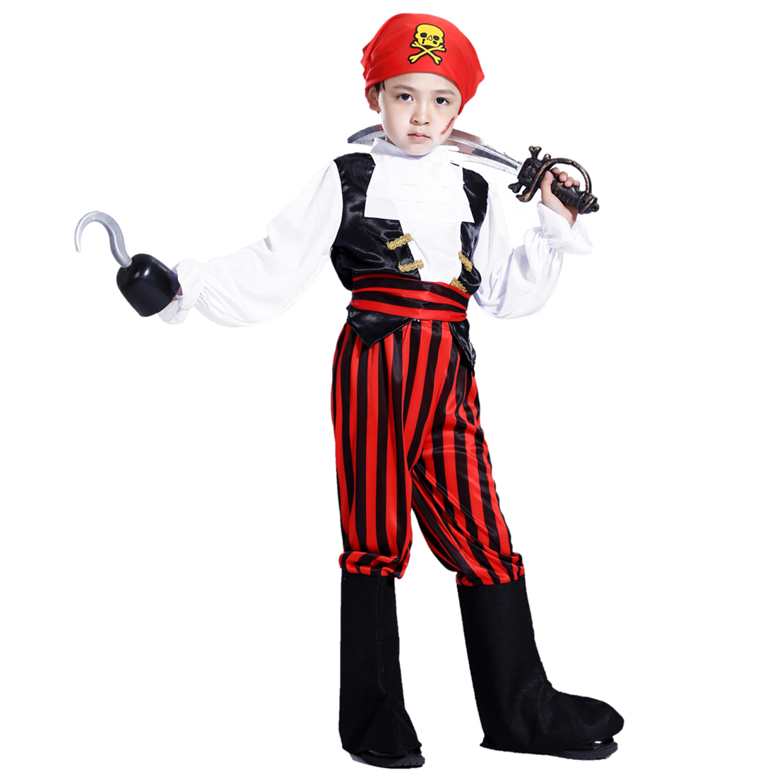 Halloween Pirate Cosplay Suit South African Pirate Costume Set With Pirate Knife And Pirate Hook For 4-6 Years Old - M Size