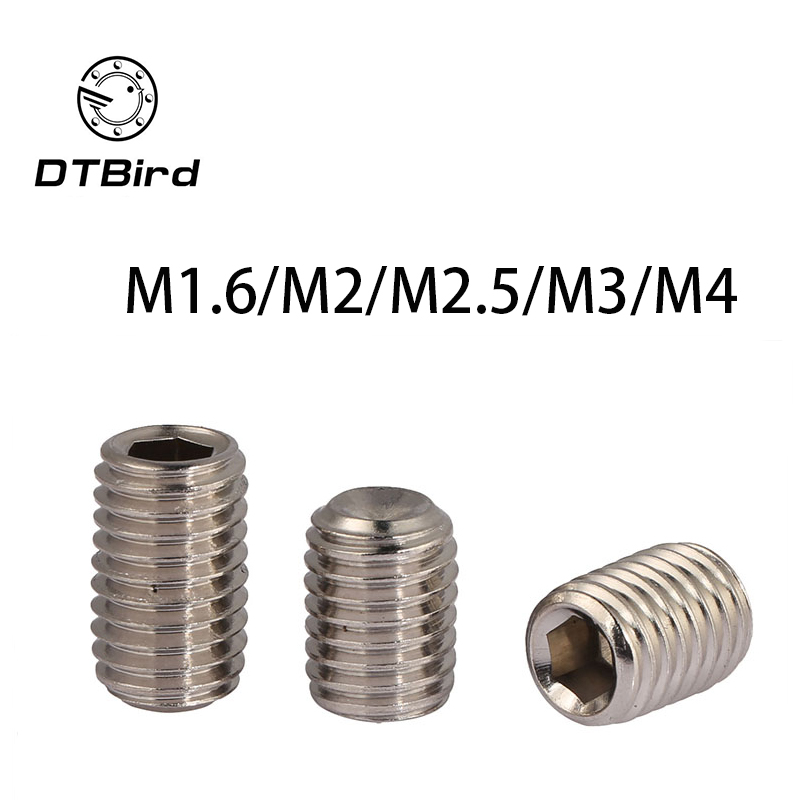 DIN916 304 stainless steel set screws Concave hex socket Chimi M1.6 M2 M2.5 M3 M4 screw headless Top wire machine 2017 0 8mm 304 stainless steel wire bright surface diy materialhard steel wire cold rolled