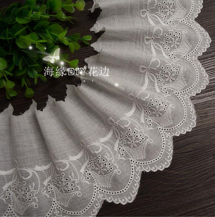 New Arrival 5 Yards Off-white Cotton Cloth Embroidered Lace Trim DIY Lace Fabric Width 13cm Free Shipping