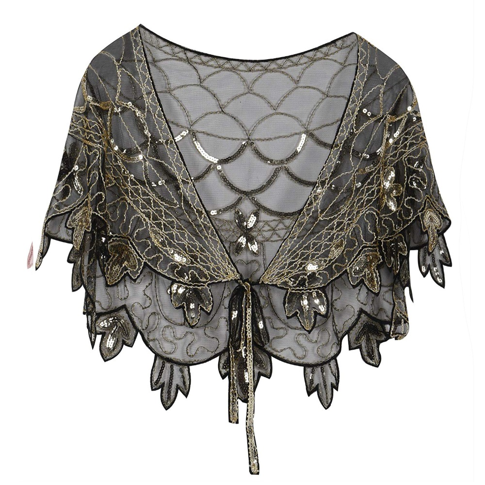 Vintage-1920s-Flapper-Shawl -black-gold