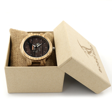 BOBO BIRD V-H29 Mens Zebra Wood Quartz Wristwatch Doodle Print Dial Luminous Hand Bamboo Wooden Watch Black Leather  uhren men