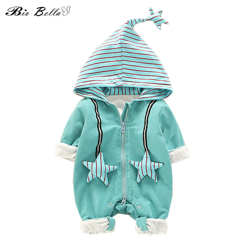 Newborn Think Baby   Rompers   Winter Autumn Hooded Jumpsuit Cartoon Boy Girl Causal Think Infant Clothes   Rompers   Kids Outfits 0-18M