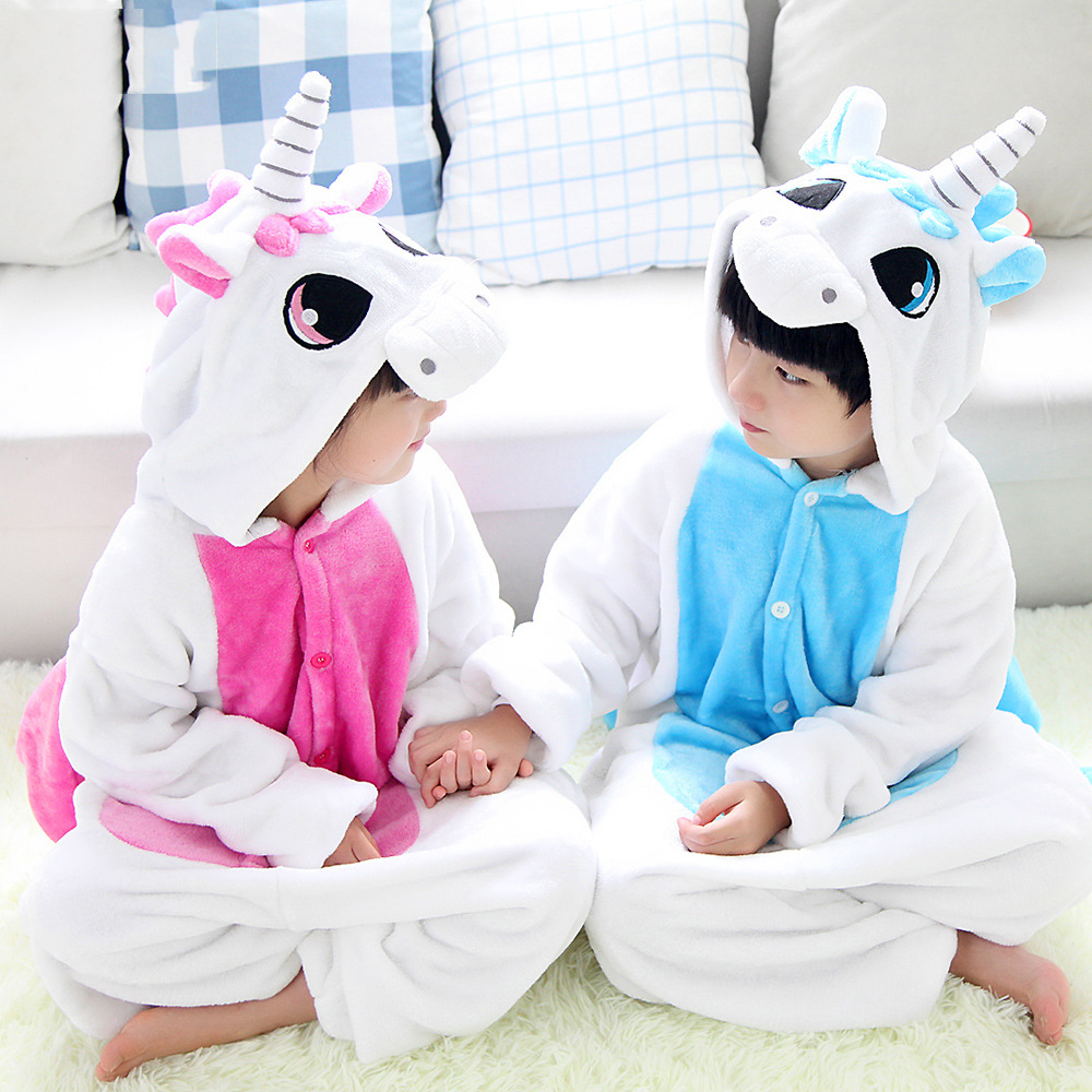 Flannel winter Children christmas pajamas pink unicorn pajamas for girls cartoon animals Hooded pijamas onesie Boy kids pijamas christmas rainbow unicorn animal family onesie pajamas