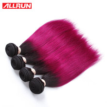 Allrun Pre Colored Ombre T1B 118 Red Straight Human Hair Bundle 1 Piece Remy Brazilian Human Hair Extension 100 Gram Two Tone(China)