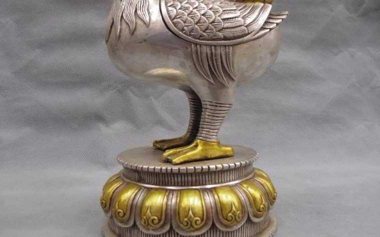 Chiński buddyzm ludowej biały brąz srebrny MANDARINA DUCK scarlet rain, kadzidło palnika censer