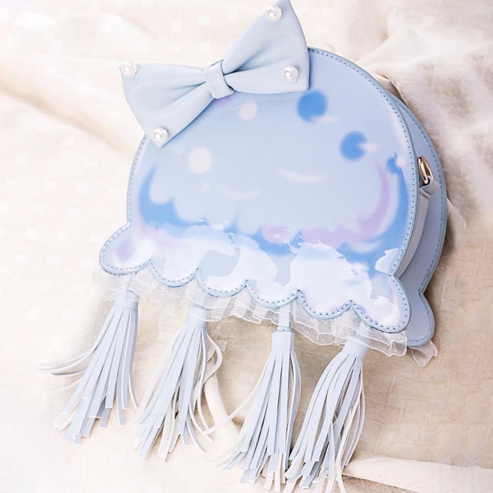 Kawaii Girls Cosplay Jelly Fish Cute Big Bow Tassel Design Harajuku Lolita Women PU Jelly Handbag Shoulder Messenger Bag Japan