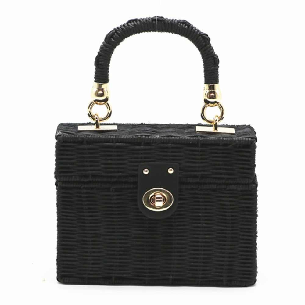 107d7ca5f69e OUTAD Rttan Straw Shoulder Bag Women hand-woven Messenger Bag Summer Beach  Square Box Wicker