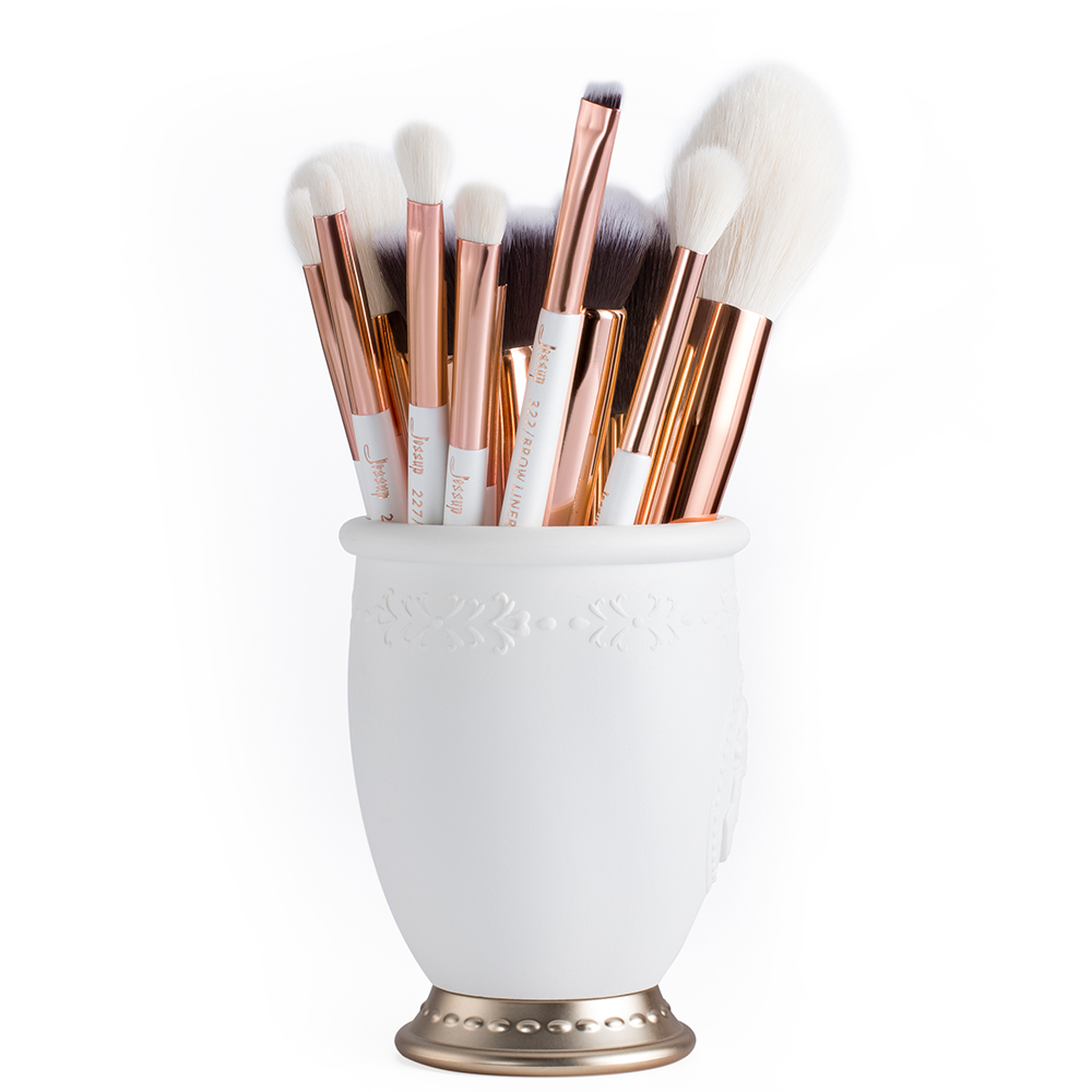 Image 5 - Jessup brushes Pearl White / Rose Gold Professional Makeup Brushes Set Make up Brush Tool Foundation Powder Definer Shader Liner-in Eye Shadow Applicator from Beauty & Health