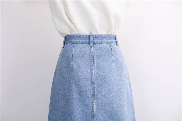 Slits a word denim skirt female 2016 new winter high waist a word length denim skirt 27