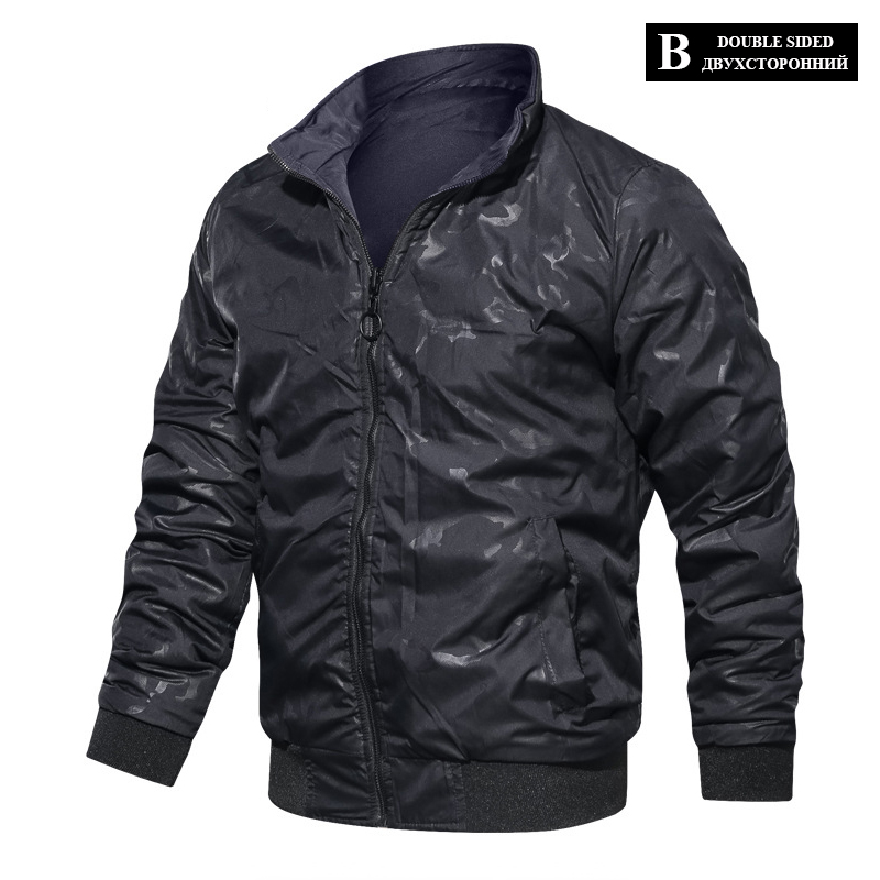 HTB1KkOPXED1gK0jSZFGq6zd3FXaN LBL Casual Bomber Jacket Men Slim Fit Autumn Winter Double Side Mens Military Jackets Outwear Coat Man Sportswear Tracksuit 2019