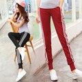2017 primavera de cintura alta calças femininas Harem Pants calças esportivas de algodão corredores mulheres listras laterais soltos pantalon femme