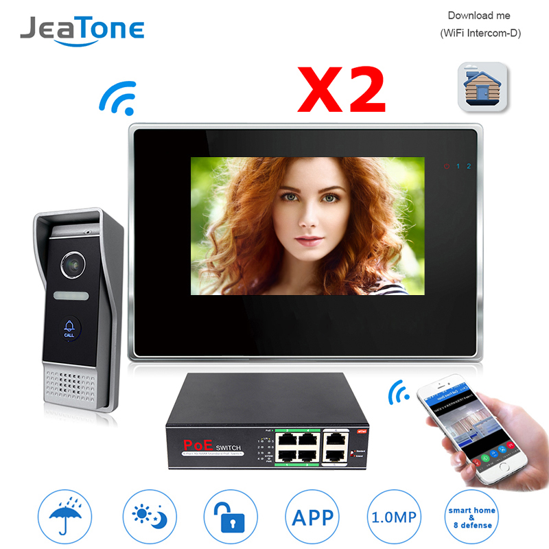 JeaTone 7 Inch 720P WiFi IP Video Doorphone For Villa 1 To 2 Home Access Control Intercom System Android IOS App Remote Unlock