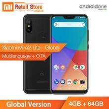 Stokta Küresel Sürüm Xiao mi mi A2 Lite 4 GB 64 GB 5.84 INÇ tam ekran Snapdragon 625 Android bir 4000 mAh AI Yüz Cep Telefonu