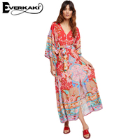 Everkaki Gypsy Collective Lotus Gown Boho Style Long Dress V Neck High Waist Half Sleeve Print