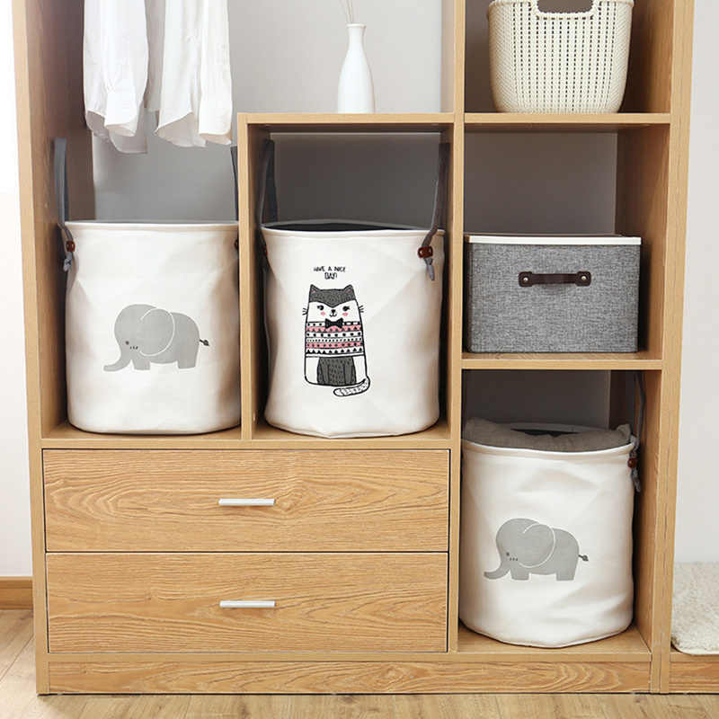 الكرتون النسيج سلة الغسيل حقيبة كبيرة للطي الملابس القذرة أشتات اللعب سلات تخزين صندوق ديكور المنزل سلة مغزولة