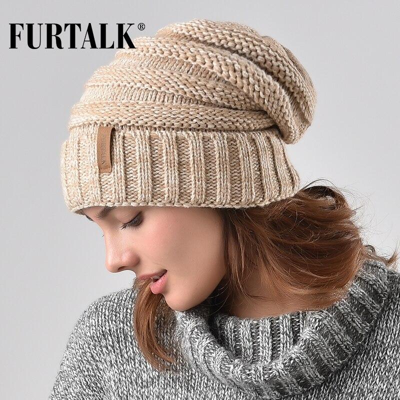FURTALK Winter Gestrickte Frauen Hut Slouchy Beanie für Mädchen Skullies Kappe A047