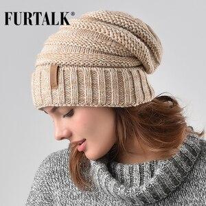 Image 1 - Furconverte chapéu de malha feminino, gorro slouchy para meninas a047