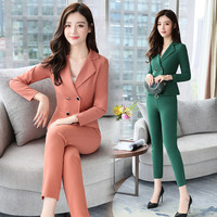 Double breasted Women Casual Office Business Suits Formal Work Wear Sets Uniform Styles Elegant Pant Suits Two piece suit