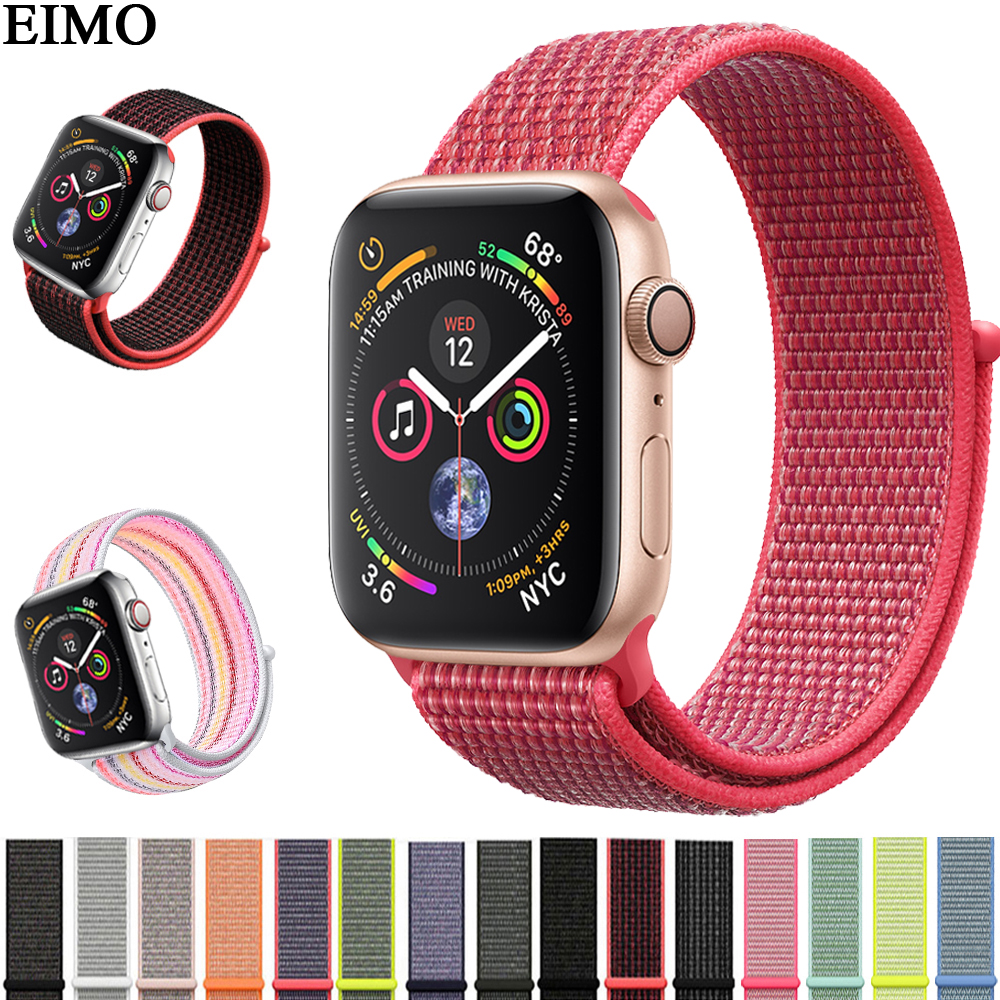 EIMO deporte correa de lazo para Apple Watch Band 42mm 38mm 44mm 40mm iwatch 4/3 /2/1 Nylon ajustable pulsera mujeres