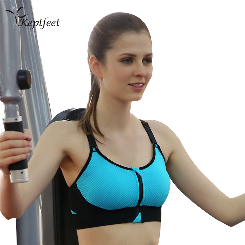 купить Zipper Women Sports Bra Professional Quick Dry Padded Shockproof Gym Fitness Running Yoga Sport Brassiere Tops по цене 311.43 рублей