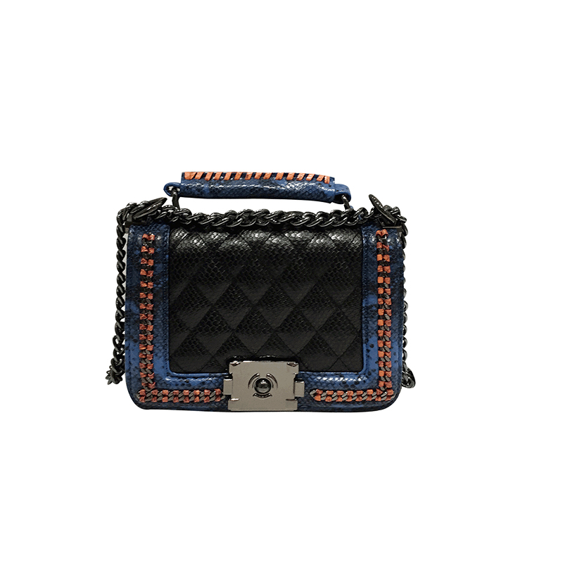 women shoulder bag snake pu leather chains crossbody women messenger handbags lock design bag inside synthetic leather stylish striped and metallic chains design shoulder bag for women