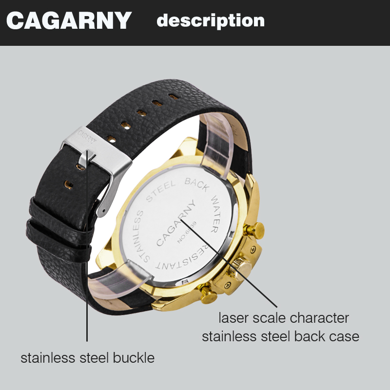 cagarny dz style quartz watch men golden mens watches (6)