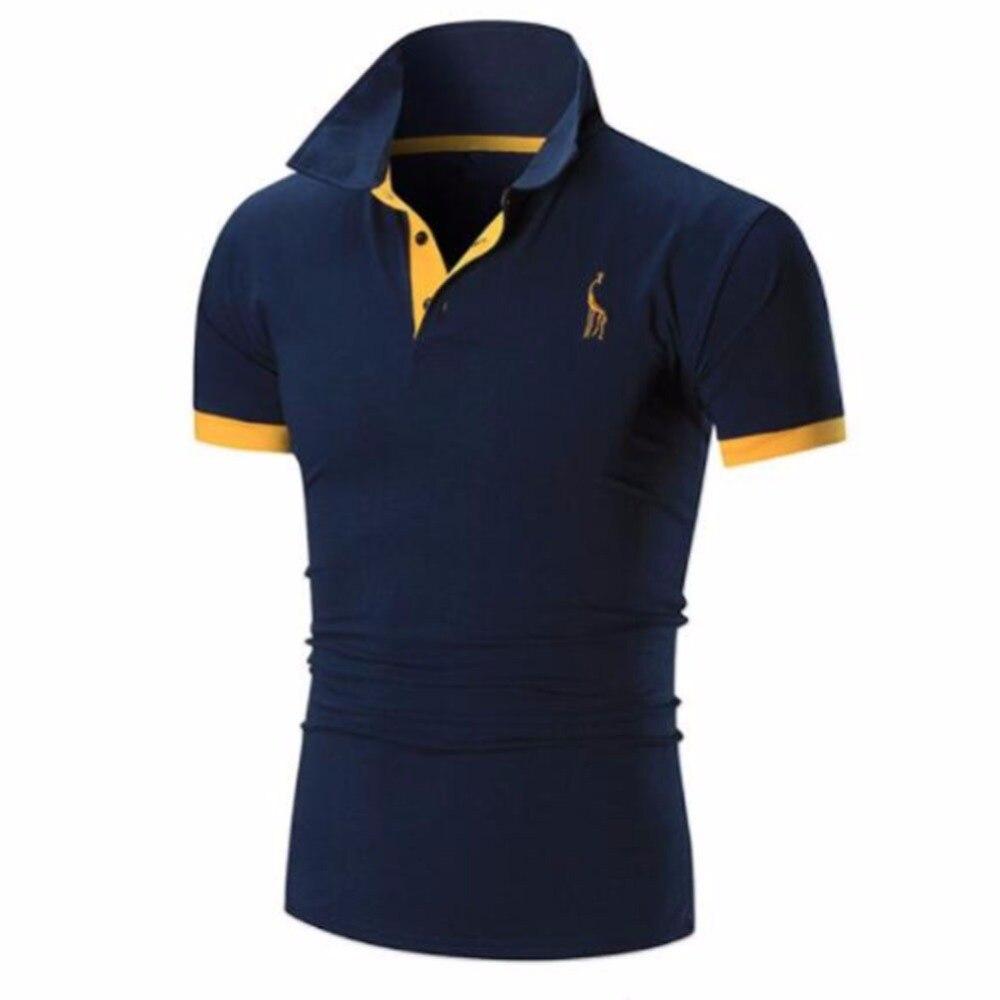 Mens T Shirt Marchi 2018 Maschio Manica Corta Casuale Sottile di Colore Solido Del Ricamo Cervi Modello T-Shirt Da Uomo XXXXL