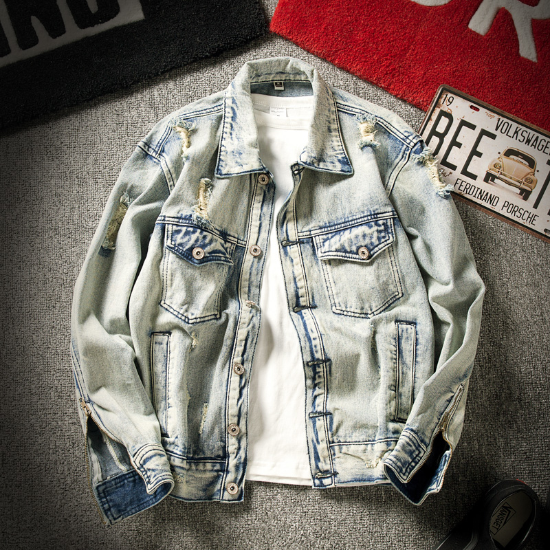 Plus Size S-6XL Spring New Men's Denim Holes Jacket Hip-hop Distressed Washed Cool Casual Coat Outwear Jean Jackets