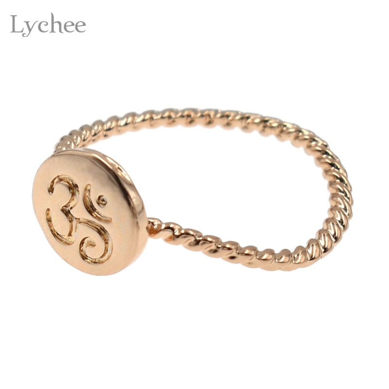 Lychee Alloy Om Ring Yoga Meditation Ring Silver Gold Color Om Ohm Symbol Yoga Ring Jewelry for Women