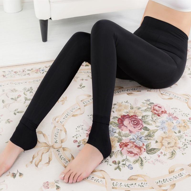 Herbst Winter Frauen Legging Mädchen Samt Fuß Schritt Warme Hosen Casual Dick Hohe Taille Feste Legging Plus Größe
