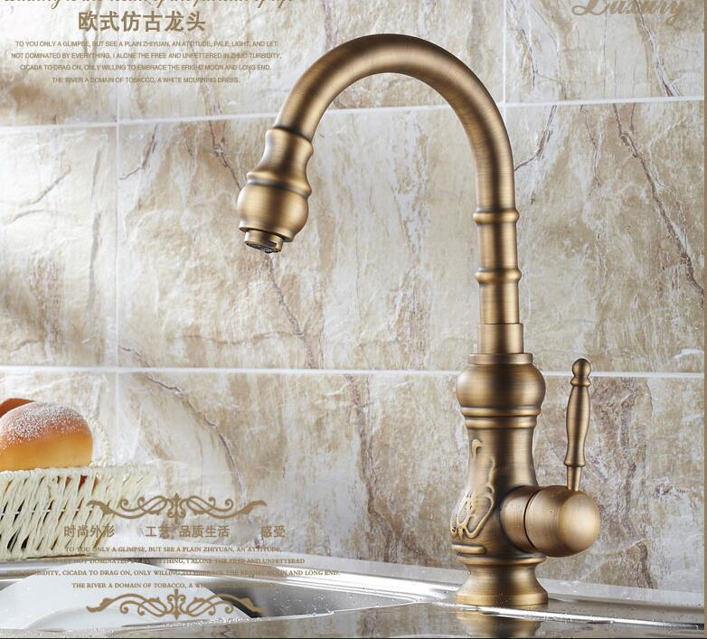 All-copper antique European kitchen sink faucet hot and cold copper sink kitchen faucet LU41315 wooden handmade dollhouse miniature diy kit caravan