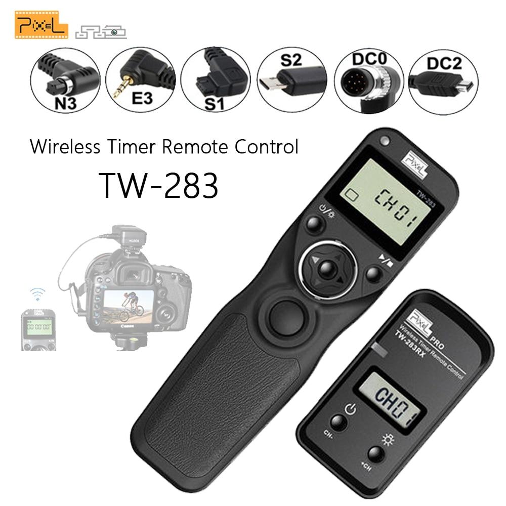 Pixel TW-283 वायरलेस टाइमर रिमोट कंट्रोल शटर रिलीज़ (DC0 DC2 N3 E3 S1 S2) कैनन निकॉन सोनी कैमरा TW283 VS RC-6 के लिए केबल