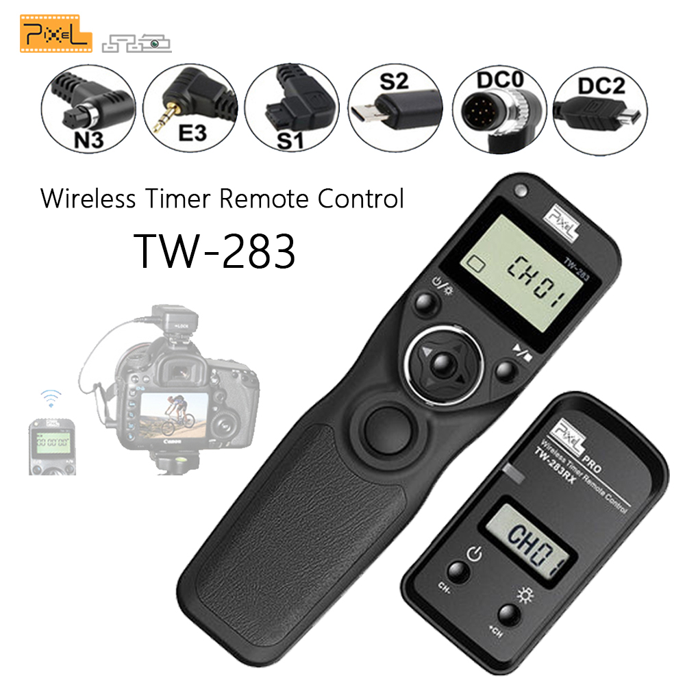 Pixel TW-283 Wireless Timer <font><b>Remote</b></font> Control <font><b>Shutter</b></font> Release (DC0 DC2 N3 E3 S1 S2) Cable For Canon Nikon Sony <font><b>Camera</b></font> TW283 VS RC-6 image