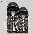 2017 New Men Plus Size 3XL Lovers Mens  Vest With Hood Casual Cotton Padded Gilet Camouflage Waistcoat Coat NSWT108