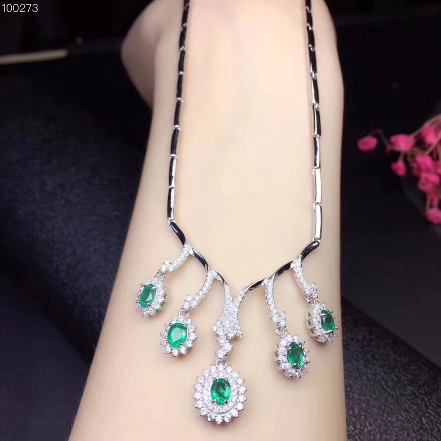 Free Shipping 925 Sterling Silver Inlay Natural Emerald Pendant Necklaces 4*5mm 5pcs