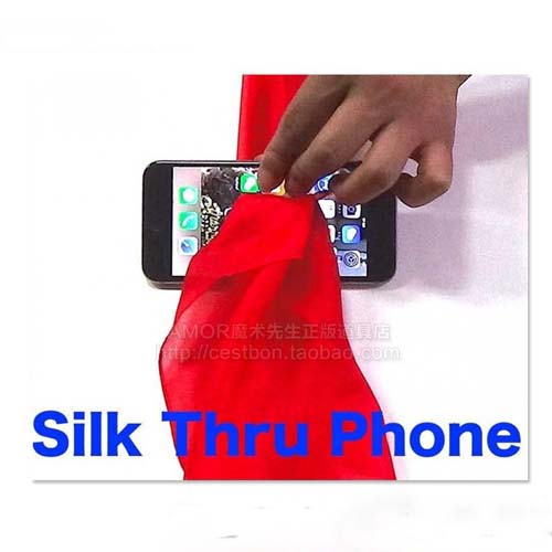 2017 New Magic Tricks Silk Through Phone Close Up Magic Easy To Do for Professional Magician Gimmick Email Teaching Video