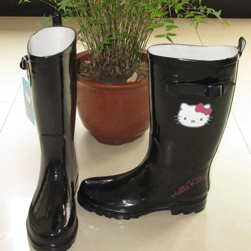f22376df0 Hello Kitty shoes high women's adult rain boots fashion rainboots slip  resistant water shoes rain shoes black rain boots-in Mid-Calf Boots from  Shoes on ...