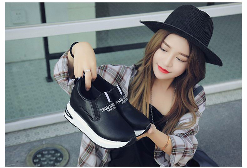 Shoes Women High Top Autumn Quality Leather Wedges Casual Shoes Height Increasing Slip On Ladies Shoes Trainers Size 35-39 YD139 (19)