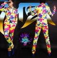 Новый MZ ночной клуб певец DJ GD право Zhilong подиум модели в Европе и Америке ослепительно цвет камуфляж Костюм костюмы