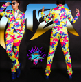New MZ nightclub male singer DJ right Zhilong GD catwalk models in Europe and America dazzling color camouflage Suit costumes
