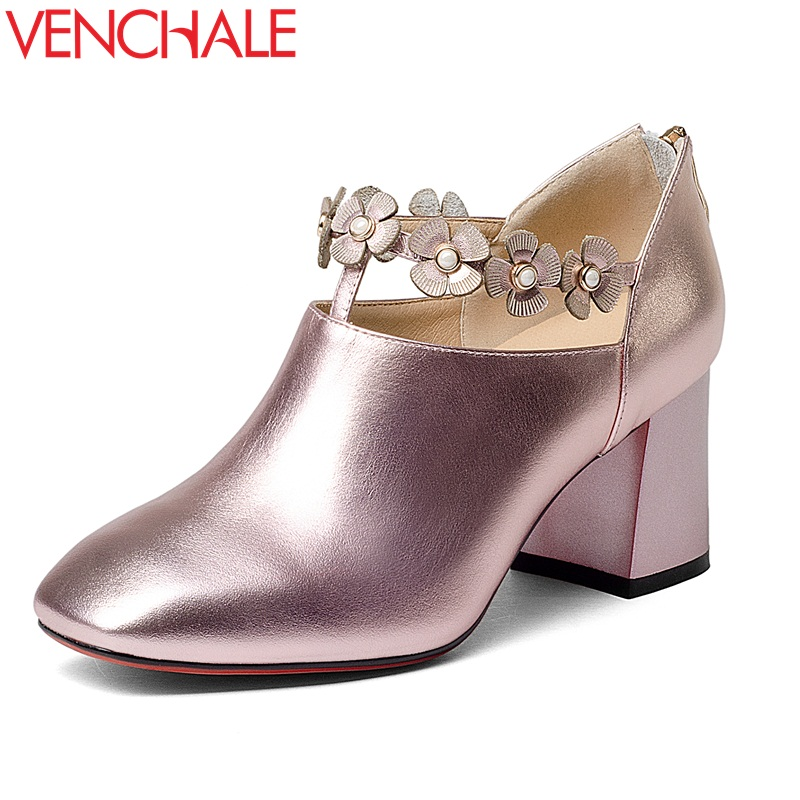 VENCHALE flowers decoration sweet zipper career office lady square toe genuine leather shoes high heels woman spring pumps my brilliant career