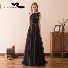 Alagirls New Arrival Evening Dress 2019  Lace Illusion Gown Floor length Party dress Elegant A Line Prom Dresses
