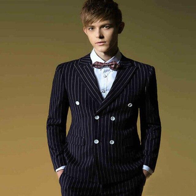 2018 traje Homme hombres trajes doble Breasted novio esmoquin rayas padrino boda trajes hombre fiesta esmoquin (chaqueta + Pantalones + corbata) - 2
