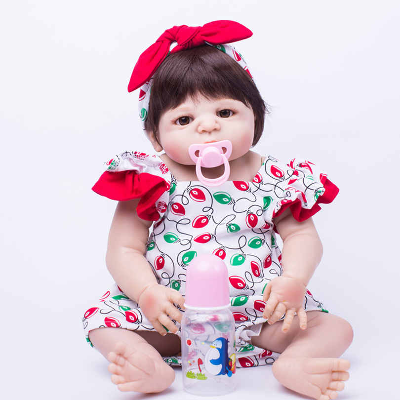 Full Silicone Toys Doll for Kids Baby Girls Lifelike Cute Education Dolls Withe Pacifier Fashion Realistic Dolls Children Gifts little cute flocking doll toys kawaii mini cats decoration toys for girls little exquisite dolls best christmas gifts for girls