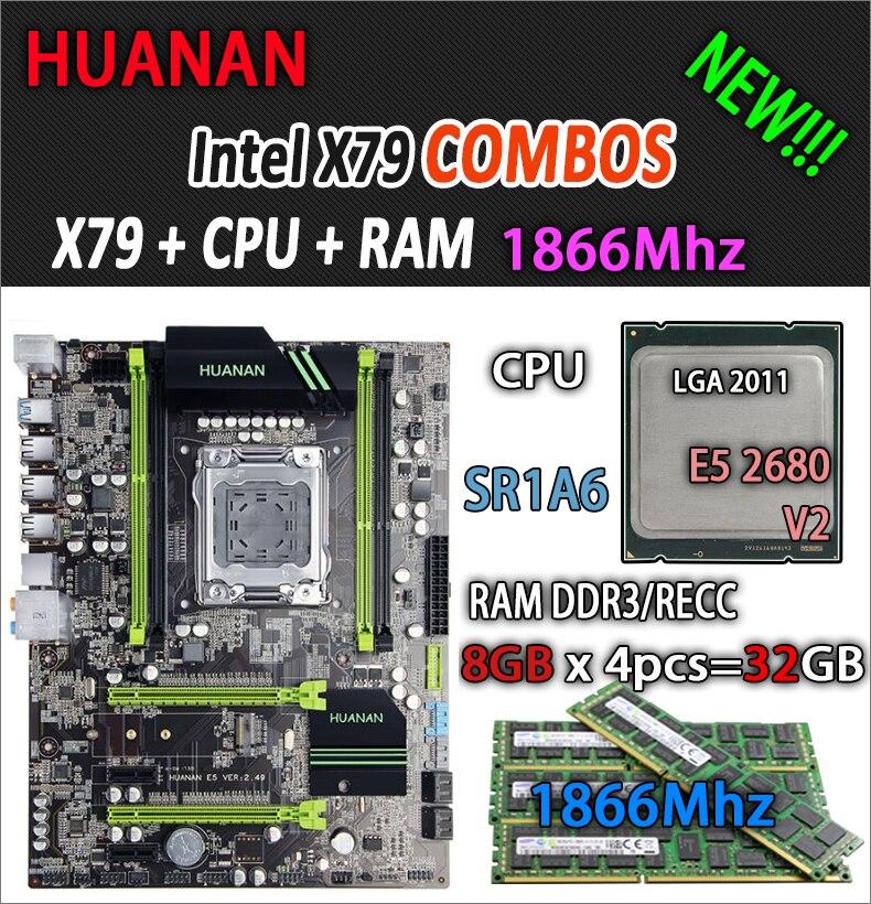 HUANAN d'oro V2.49 X79 scheda madre LGA2011 ATX combo E5 2680 v2 SR1A6 4x8g 32 gb 1866 mhz USB3.0 SATA3 PCI-E NVME M.2 SSD
