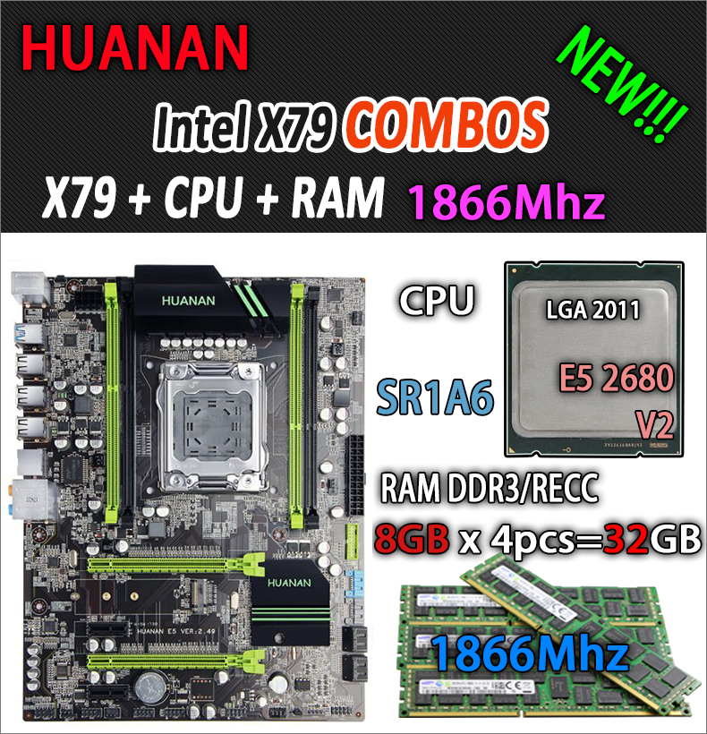 HUANAN de V2.49 X79 placa base LGA2011 ATX combos E5 2680 v2 SR1A6 4x8g 32 GB 1866 MHz USB3.0 SATA3 PCI-E NVME M.2 SSD